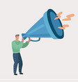 guy is screaming in bullhorn or megaphone vector image
