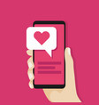 hand holding smartphone with love message vector image vector image