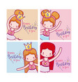 happy birthday with cute ballet dancers card vector image