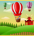 happy cartoon kids flying in a hot air balloon in vector image