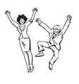 happy couple jumping and having fun woman and man vector image vector image