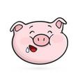 hungry emoticon icon emoji pig vector image