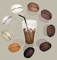 Iced Coffee and beans vector image