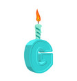 letter g birthday font letter and candle vector image vector image