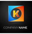 Letter K logo symbol in the colorful square on vector image vector image