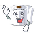 okay character toilet paper rolled on wall vector image vector image