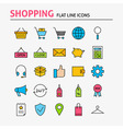 Online Shopping Colorful Flat Line Icons Set vector image