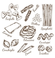 pasta types sketch set vector image vector image