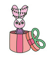 rabbit with lights in gift box merry christmas vector image vector image