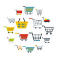 shopping cart icons set in flat style vector image vector image