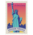 statue liberty in background new york city vector image vector image