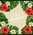 summer poster with tropical flowers vector image vector image