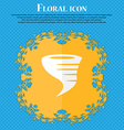 Tornado icon Floral flat design on a blue abstract vector image
