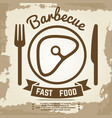 vintage poster with babecue label with meat fork vector image vector image