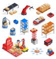Warehouse Robots Icon Set vector image vector image