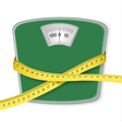Weight scale with a measuring tape Concept of diet vector image