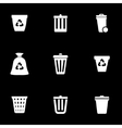 white trash can icon set vector image vector image