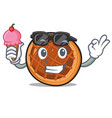 with ice cream baket pie character cartoon vector image