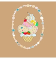 with the image of a cake in an oval vector image vector image