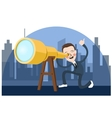 business man looking into telescope search vector image