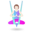a girl hangs in a hammock in the lotus position a vector image
