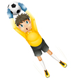 A little football player catching the ball vector image vector image