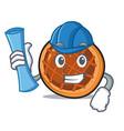 architect baket pie character cartoon vector image