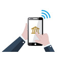 banking online concept with mobile phone and bank vector image vector image