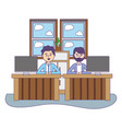 business coworkers executives cartoon vector image