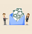 business man and woman stands near big envelope vector image vector image