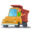 Cartoon Truck Driver Character Waving From Truck vector image vector image