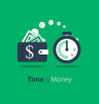 cash back wallet with dollar sign and stopwatch vector image