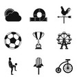 children sports icons set simple style vector image vector image