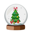 christmas globe with a christmas tree vector image vector image