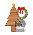 christmas tree with crystal ball isolated icon vector image vector image