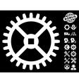 Clock Gear Icon with Tools Bonus vector image vector image