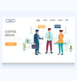 coffee break website landing page design vector image