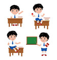 collection of cute boys in school uniform vector image vector image