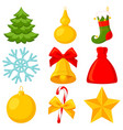 colorful cartoon 9 xmas elements set vector image