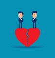 couple standing on broken heart cute business vector image