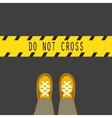 do not cross line road sign vector image