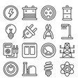electricity icon set on white background line vector image vector image