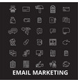 email marketing editable line icons set on vector image vector image