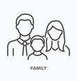 family flat line icon outline vector image