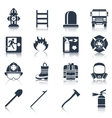 Firefighter Icons Black vector image