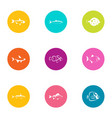 fish deal icons set flat style vector image