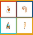 flat icon cripple set of stand disabled person vector image vector image