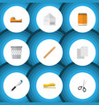 flat icon equipment set of pencil sticky vector image vector image