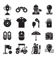 golf icons set in outline silhouette style vector image vector image