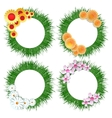 Grass wreath with flower bouquet set vector image vector image